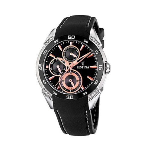 Festina Men's F16394/4 Black Leather Quartz Watch with Black Dial