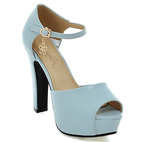 Colnsky Women's Peep Toe Ankle Strap Chunky High Heel Platform Sandals Blue11 B(M) US New - Airport Singapore Images