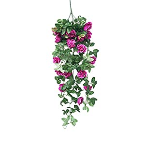 Flower❤️Jonerytime❤️Simulation Fake Flower Rose Vine Wall Hanging Flower Orchid Hanging Basket Flower Living Room Balcony Home Decoration Flower (Purple) 105