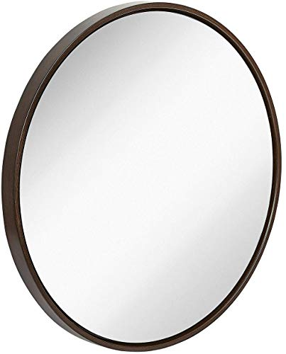 Clean Large Modern Wenge Wood Circle Frame Wall Mirror | Contemporary Premium -