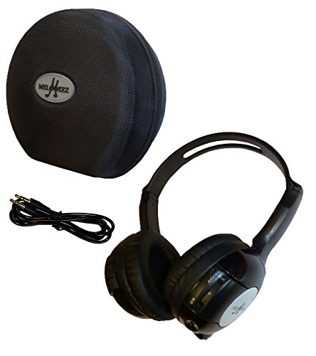 1 Kid Sized Wireless Infrared Universal Car DVD IR Automotive Colored Adjustable 2 Channel Headphones With Case and 3.5mm Auxiliary Cord