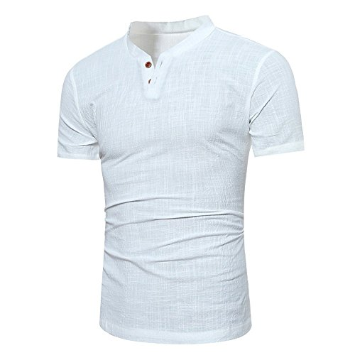 Birdfly Men's Linen Slim Fit Two Button Down Short-Sleeved Plain Stand Collar T-Shirt (M, White) from Birdfly