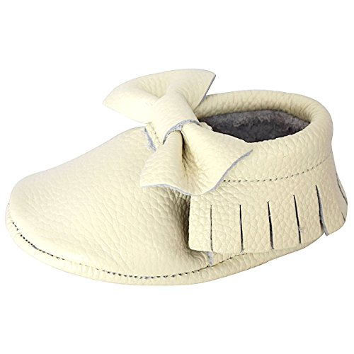 Unique Baby Leather Bow Moccasins Anti-Slip Tassels Prewalker Toddler Shoes (M (5.5 inches, Cream)