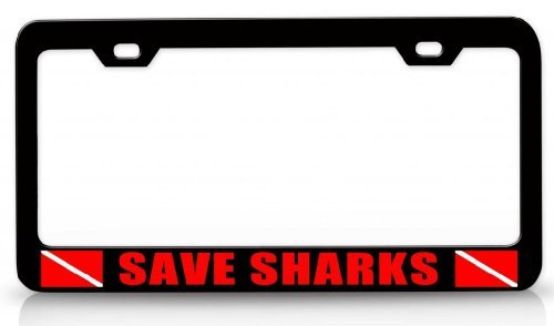 License Plate Covers Save Sharks Scuba Diving Steel Metal License Plate Frame Bl # (Little Earth License Plate Purse)
