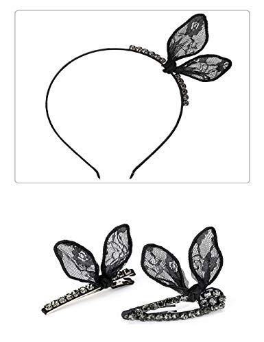 3Pcs France Popular Rabbit Ears Hairpin Jewelry Lace Imitation Diamond Bow Fashion Women'S Cute Lace Metal Duckbill Clip Tiara Hair Accessories Gift Headband Butterfly Pattern