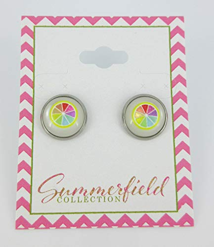 Stainless Steel Lemon Resin Stud Earrings 12mm