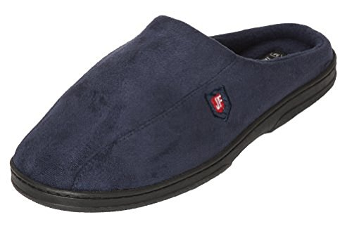 New Men's Faux Suede Memory Foam Feel Slip-on Clog Slippers Navy GolCyYf