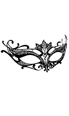 Forplay Women's Elegant Metal Mask with Rhinestone Accents, Black, One Size
