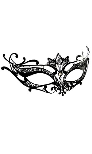 Forplay Women's Elegant Metal Mask With Rhinestone Accents, Black, One Size - Forplay Rhinestone