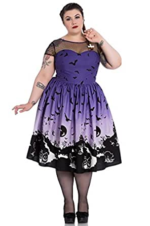 Hell Bunny Plus Size Purple Halloween Haunt Gothic Retro 50's Dress (TAGGED 4XFITS3X)