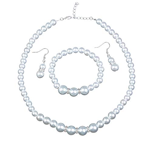 Femtindo Faux Pearl Necklace Set for Women Costume Jewelry for Blouse or Bridal Wedding Dress -