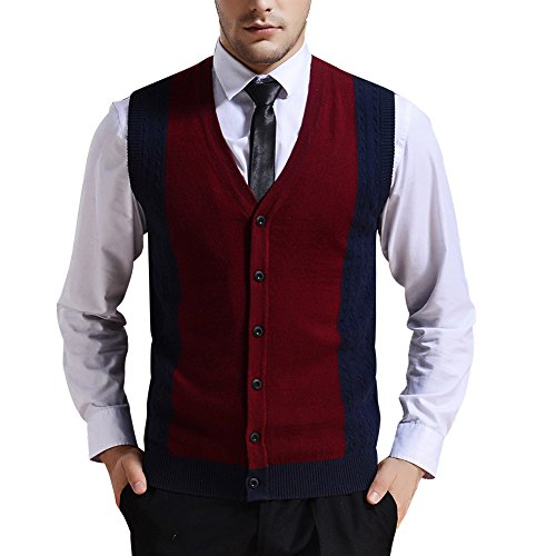Zicac Men's Business V-neck Assorted Color Knitwear Vest Cardigan Sweater (XL, Wine Red) (V-neck Men Sweaters Cardigans)
