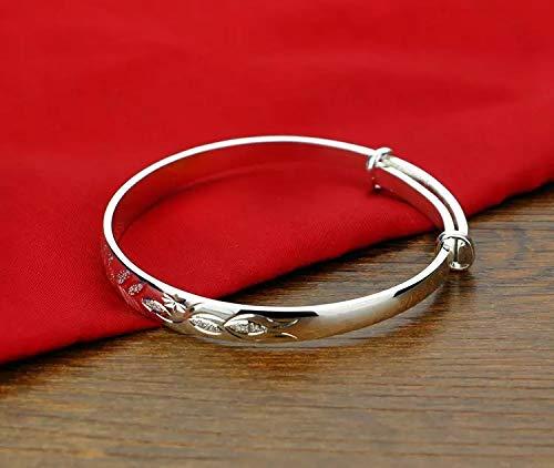 - Nattapho New Bohemian Vintage Retro Silver Bangles Women. Classic Silver Carved Leaf Plum Bracelets Zircon. Solid 925 Sterling Silver