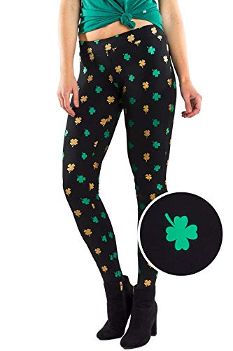(Women's Green St. Patrick's Day Leggings - St. Paddy's Day Tights Pants for Ladies (Gold Foil,)