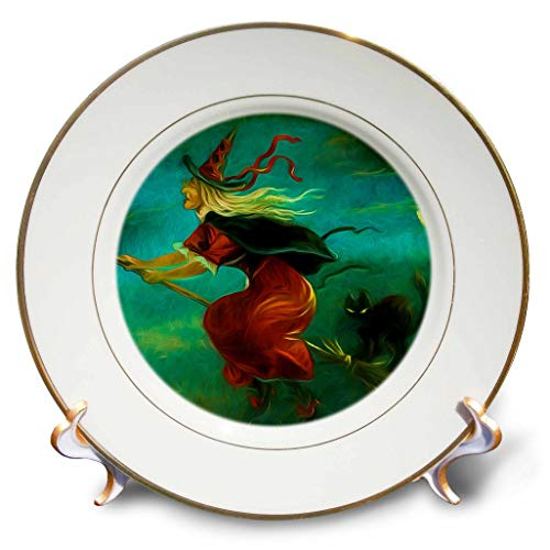 3dRose Doreen Erhardt Halloween Collection - Vintage Witch with Black Cat from 1908 Repainted for Halloween - 8 inch Porcelain Plate (cp_294964_1)]()