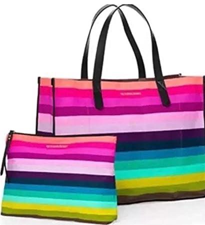 12cc6e16cbb77 Victoria Secret Travel Tote Bag Rainbow Stripe Striped Multi Color 2 piece