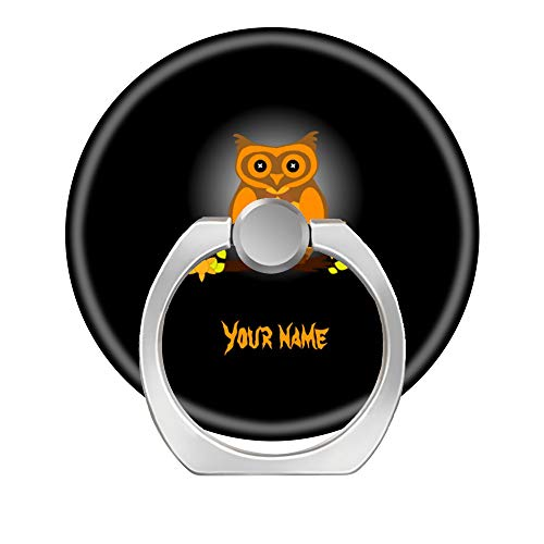 (Hundax INC Happy Halloween Cute Orange owl at Night Finger Ring Stand 360 Degree Rotation Thin Universal Phone Ring Holder Kickstand Compatible with All Smartphones and)