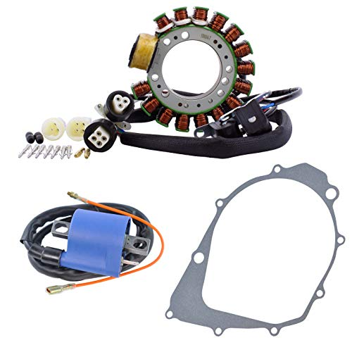 Kit Stator + Crankcase Cover Gasket + External Ignition Coil For Yamaha YFM 350 Warrior/Big Bear 1987 1988 1989 OEM Repl.# 1UY-85510-20-00 2XK-85510-20-00 1UY-82310-41-00 3GD-15451-00-00