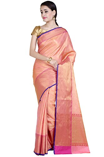 Chandrakala Women's Peach Cotton Silk Blend Banarasi Saree,Free Size(1270PEA)
