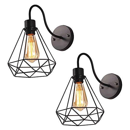 2 stuks wandlamp van metaal, vintage industriële wandlamp in retro look, materiaal: metaal, kunststof, kleur: zwart…