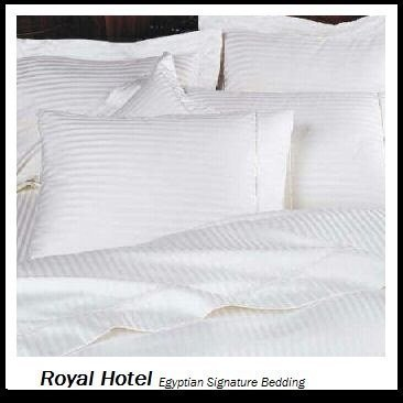 - Royal's Striped White 300-Thread-Count 4pc Olympic Queen Bed Sheet Set 100-Percent Cotton, Sateen Striped, Deep Pocket
