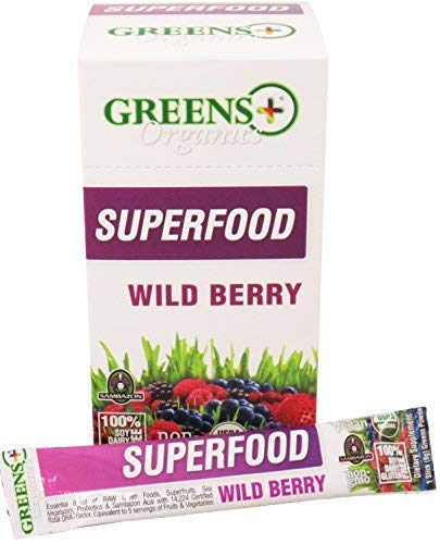 - Greens+ Organic Superfood Wild Berry | Essential Blend of Raw Green Foods, Superfruits and Sea Vegetables | Vegan | USDA Organic | Dietary Supplement | Non-GMO, Soy Dairy & Gluten-Free | 15 Stickpack