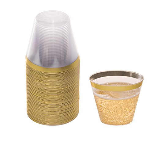 DRINKET Gold Plastic Cups 9 oz Clear Plastic Cups / Old Fashioned Tumblers Fancy Plastic Wedding Cups With Gold Rim 50 Ct Disposable For Party Holiday and Occasions SUPER VALUE (Cocktail Plastic Cups)
