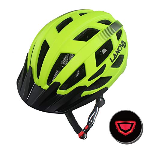 LANOVAGEAR Adjustable Youth Adult Bike Mountain Road Cycling Helmet with Rechargeable LED Safety Light Safety Protection CPSC Certified for Men Women with Detachable Visor (Green, M)