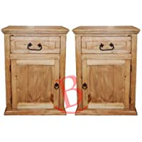 Two Econo One Drawer One Door Nightstands Western Cabin Lodge Solid Wood