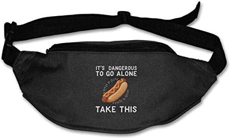 一人で行くのは危険ですこのホットドッグユニセックスアウトドアファニーパックバッグベルトバッグスポーツウエストパック