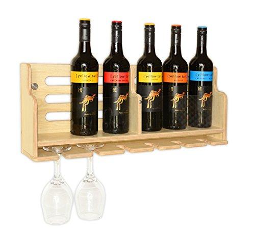 Wine Rack Wall Mounted Wine Racks (NEW) With Goblet Holder, Wall Mount Organizer, Wine Bottle Rack Shelf, - Wooden Goblets