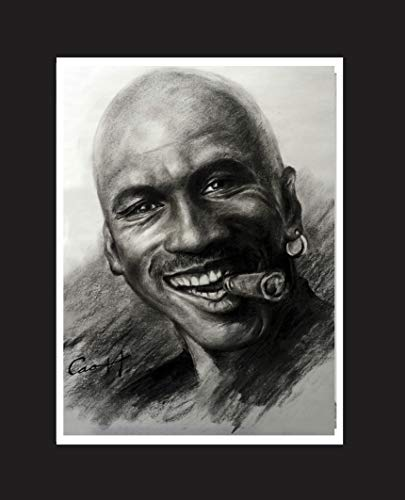 Portrait of Michael Jordan, smiling with cigar. Sketch portrait print 16 X 20