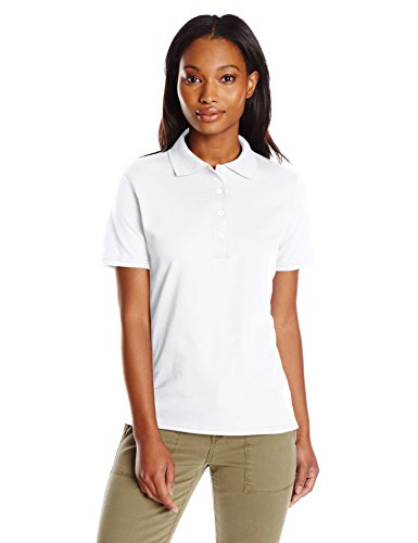 Hanes Women's X-Temp Performance Polo, White, Small