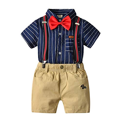 ❤Ywoow❤ for 1-6 Years Old Boys Summer Clothes Sets, Boys Gentleman Stripe Bow Clothes Sets Kids Tops T-Shirt + Short Pants Outfits Set (Blue, 12-18 Months) ()