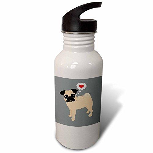3dRose Janna Salak Designs Dogs – Tan Pug Loves You – Flip Straw 21oz Water Bottle (wb_283621_2)