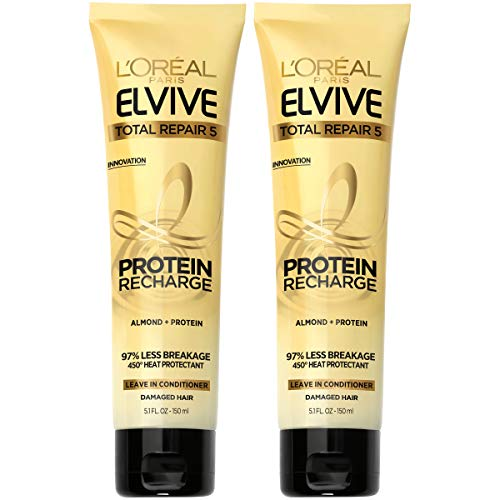 L'Oreal Paris Hair Care Elvive Total Repair 5 Protein Recharge Leave In Conditioner Hair Treatment, Heat Protectant for Damaged Hair, 5.1 fl. oz, (Pack of 2) from L'Oreal Paris