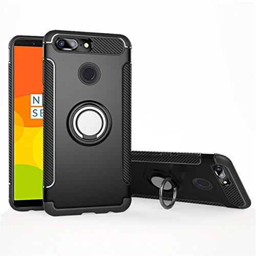 OnePlus 5T Rotating Ring case, Mingwei [360 ° Kickstand] Carbon Fiber, Metal Texture [Dual Shockproof] Protection Cover [Magnetic Car Mount] for OnePlus5T (OnePlus 5T, Black)