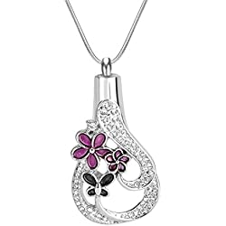 Teardrop Crystal Vintage Cremation Jewelry Urn Locket Pendant-Stainless Steel Memorial-Ash Keepsake Pendant Necklace