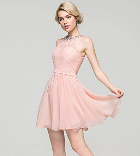 b55087453e4 ... Lace Beaded Party Dress Short Chiffon Bridesmaid Dresses Wedding Party  Gown for Girls Light Pink Size 10.   