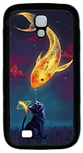 Samsung Galaxy S4 Case TPU Customized Unique Print Design Fish And Cat Case Cover For Samsung Galaxy S4