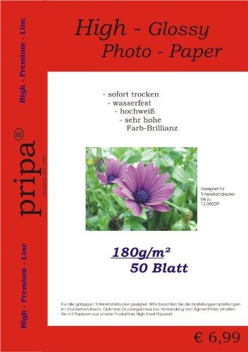 Pripa - Confezione da 50 fogli di carta fotografica A4 / 180 g, carta lucida idro repellente, per stampanti a getto d'inchiostro per stampanti a getto d' inchiostro