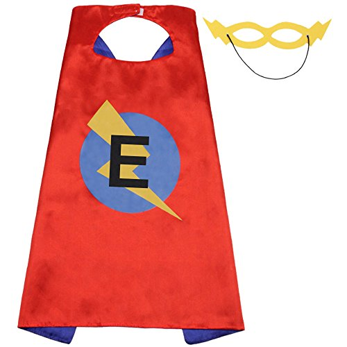 Kids Party Cape with Masks Set for Kid's Gift,Child Superhero Cape,25 Initial Cape for Birthday Party(Cape-E)