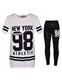 Fashion Oasis Girls Kids Camouflage NY Brooklyn 98 Loungewear Print Top & Legging Outfit Set