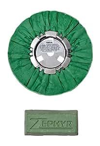 """Zephyr 8"""" Hall Green Airway Buffing Wheel w/ 1 LB Green Bar Meduim/Lite Cut"""