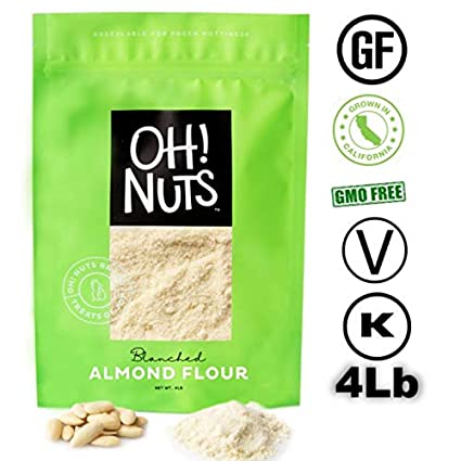 4LB Almond Flour Blanched, Almond Powder, Extra Fine Ground Almond Meal - Oh! Nuts (4 LB Bag Blanched Almond Flour)