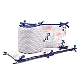 Grey Dots and Floral Crib Bumper with Navy Blue Accents by The Peanut Shell