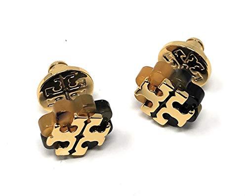 Tory Burch Logo Flower Resin Stud Earring - Tortoise/Gold by Tory Burch
