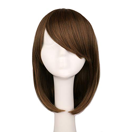 Women Girls Straight Cosplay Wig Costume Party Black White BLue 40 Cm Hair Wigs,x long light brown,16inches ()