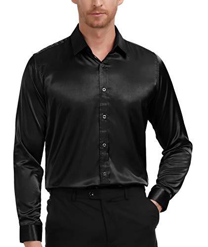 PAUL JONES Men's Fashion Slik Like Party Shirt Basic Designed (Black, ()
