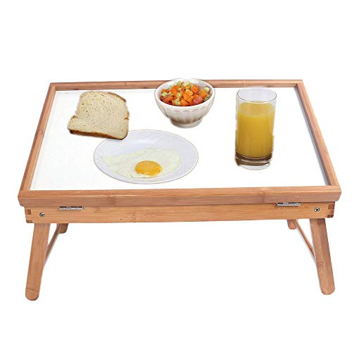 HomVent Breakfast Tray,Bed Tray Table with Folding Legs, and Breakfast Tray Bamboo Bed Table Top Adjustable Dining-Table Use As Lap Drawing Table or Eating Tray (Trays Dinner Target Tv)